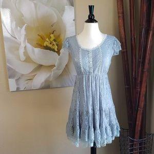 Missshop ~ Light Blue Lace Ruffled Dress ~ Size L